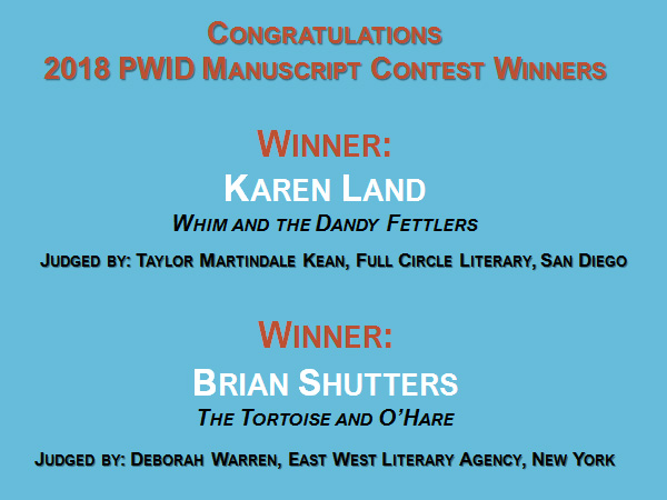 Congratulations to Karen Land and Brian Shutters, the 2018 PWID Manuscript Contest Winners!