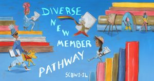6 writers or illustrators with different shades of skin tones, including 1 wearing an LGBTQ+ Pride rainbow scarf & one with a Seeing Eye dog, all moving among giant books.