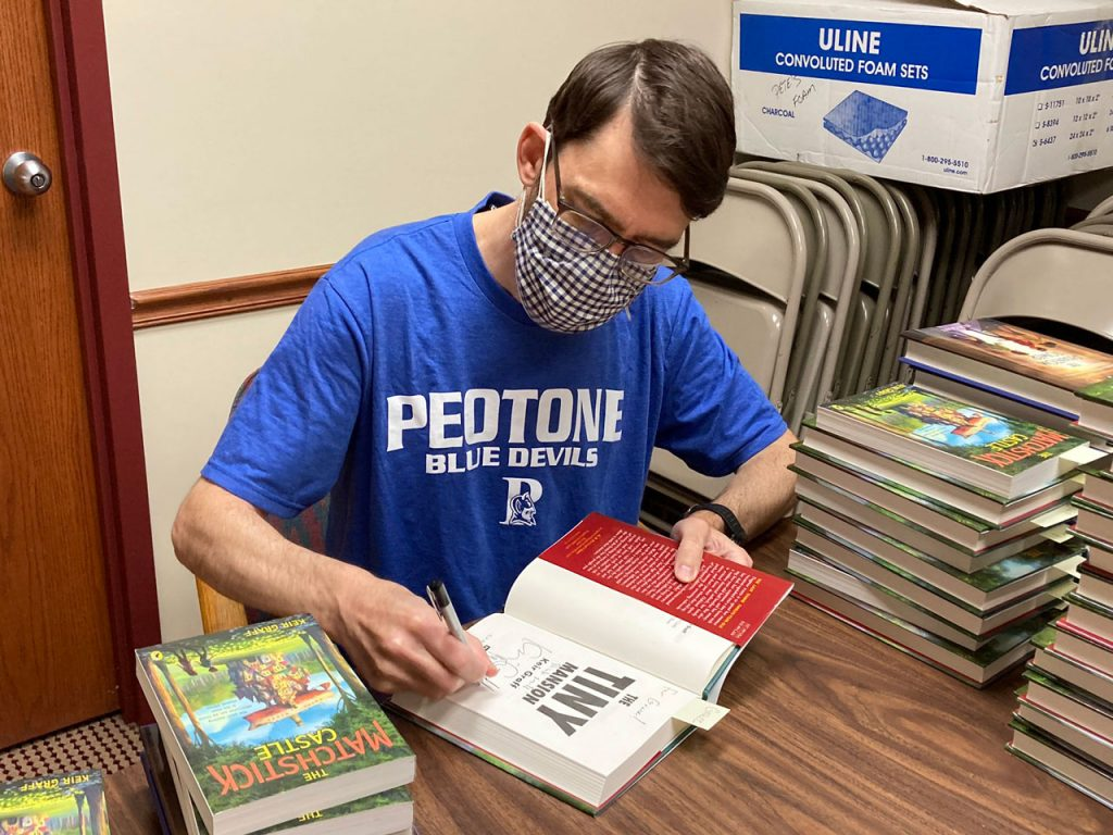 Keir Graf signing books at Andersons