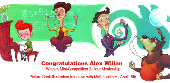 Congratulations to Alex Willan, Winner of the Mini-Competition, 3-Hour Mentorship with legendary illustrator, Matt Faulkner!