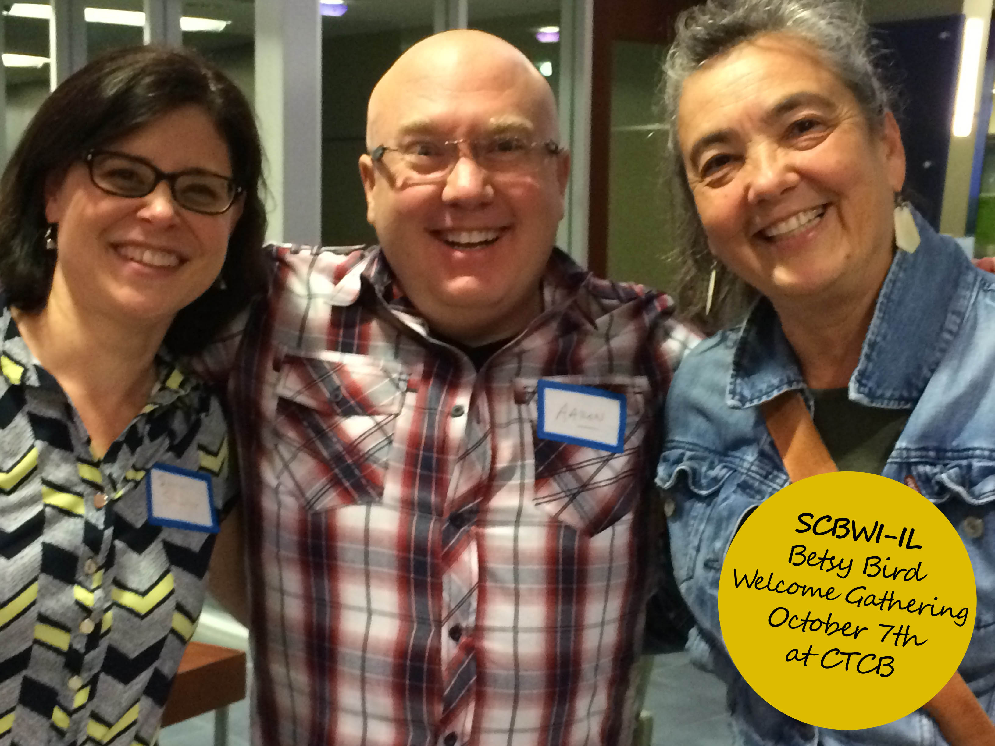 Author and ARA, Sara Shacter, author Aaron Reynolds and author-illustrator Laura Montenegro at the Betsy Bird Welcome Party at the Center for Teaching Through Children's Books on October 7th!
