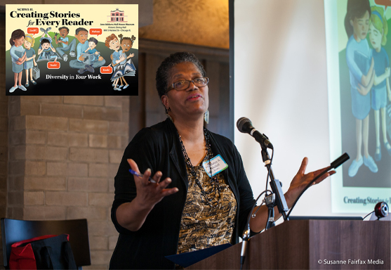 Gwendolyn Mitchell, Consulting Editorial Director, THIRD WORLD PRESS, delivers a keynote at the Creating Stories for Every Reader Event, March 19, 2016 https://illinois.scbwi.org/events/creating-stories-for-every-reader-diversity-in-your-work-3/ Photos courtesy Susanne Fairfax Media