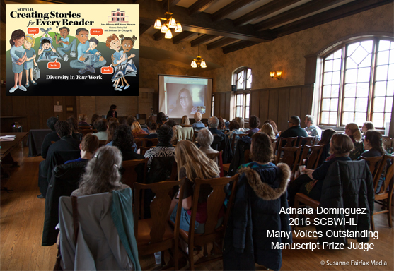 A Skype visit from Adriana Dominguez, agent at FULL CIRCLE LITERARY, at the Creating Stories for Every Reader Event, March 19, 2016.  Ms.Dominguez is the 2016 judge for SCBWI-Illinois' new annual Many Voices Outstanding Manuscript Prize, http://illinois.scbwi.org/scholarships/many-voices-outstanding-manuscript-prize/ .    Photos courtesy Susanne Fairfax Media