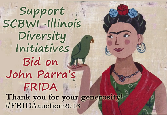 Bidding has ended. The final bid is $700.#FRIDAauction2016 Gifted by the artist and inspired by his upcomingpicture book,Frida and Her Animalitos(written by Monica Brown, NorthSouth Books, 2017), John Parra'sFRIDAwas auctioned duringthe week followingPrairie Writer's and Illustrator's Day 2016 to raise funds for SCBWI-Illinois' ongoing diversity initiatives